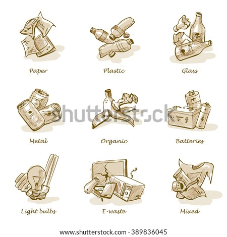 Hand drawn vector illustration sketch of trash categories with organic, paper, plastic, glass, metal, e-waste, batteries, light bulbs and mixed waste. - stock vector