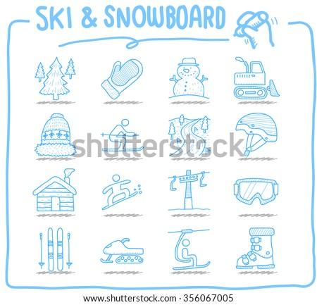 Hand drawn Vector illustration - Ski & Snowboarding - stock vector