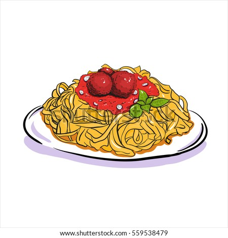 Spaghetti Cream Sauce Illustration Stock Vector 514490233 ...