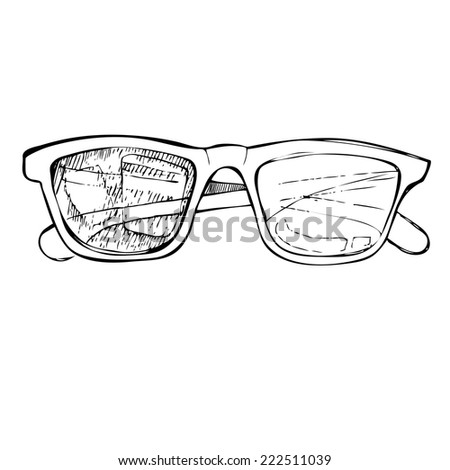 Hand drawn vector illustration - sunglasses. Line art. Summer time.Ink. Feather. - stock vector