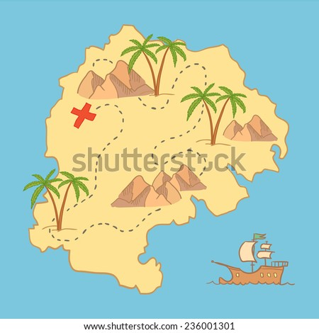 Hand drawn vector illustration - treasure map and design elements (mountains,   palm, ship, sea etc.)