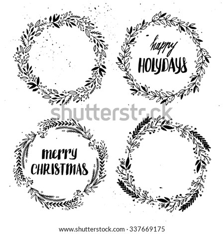 Hand drawn vector illustration. Vintage decorative kit of christmas laurels and wreaths. Perfect for invitations, greeting cards, blogs, posters and more. Merry christmas and happy new year - stock vector