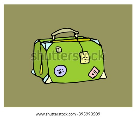 "Hand drawn vector illustration ""Vintage suitcase"""