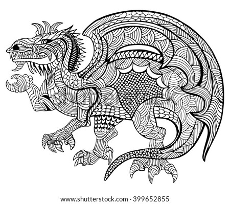 Hand drawn vector illustration with geometric and floral elements. Original hand drawn Dragon. - stock vector