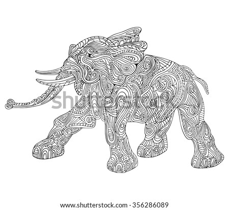 Hand drawn vector illustration with geometric and floral elements. Original hand drawn Elephant. - stock vector