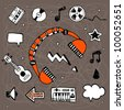 Hand-drawn vector illustration with music symbols, icons and elements. Set 1 - stock vector