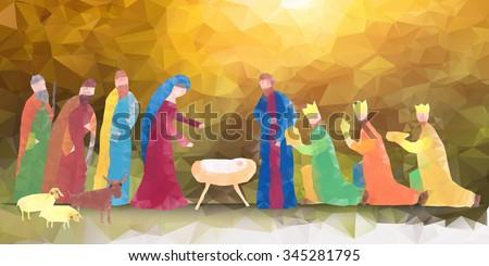 Hand drawn vector illustration with nativity scene. Baby jesus born in Bethlehem. - stock vector
