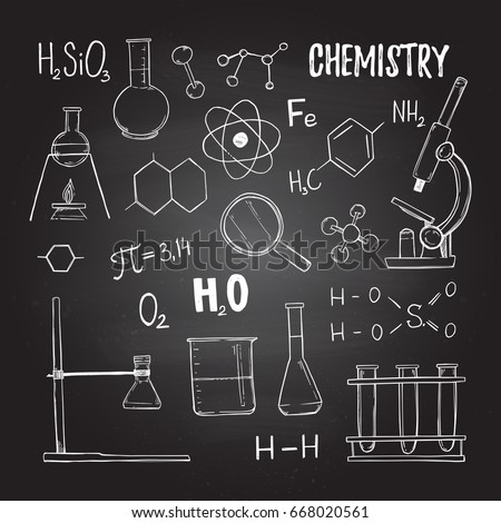 Hand drawn vector illustrations chemistry chemical stock vector chemistry chemical elements test tubes microscope perfect ccuart Images