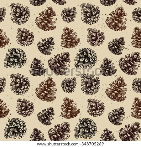 Hand drawn vector illustrations. Seamless pattern with pine cones. Forest background - stock vector