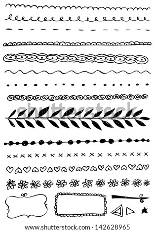Hand-drawn vector  line border set and design element - stock vector