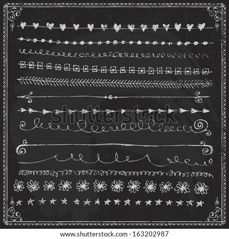 Nice Hand Drawn Vector Line Border Set And Design Element On A Chalkboard