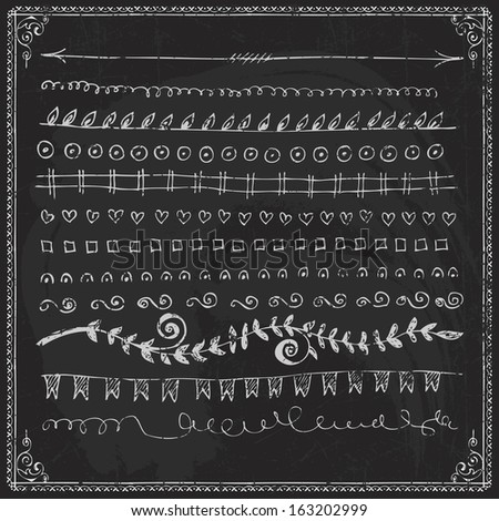 Hand-drawn vector line border set and design element on a chalkboard - stock vector