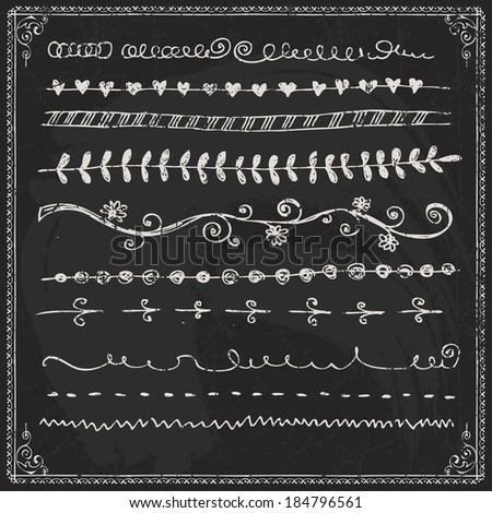 Hand Drawn Vector Line Border Set And Design Element On A Chalkboard