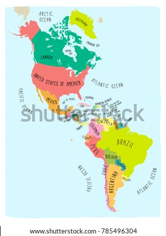 Hand drawn vector map americas colorful stock vector 785496304 hand drawn vector map of the americas colorful cartoon style cartography of north and south gumiabroncs Image collections