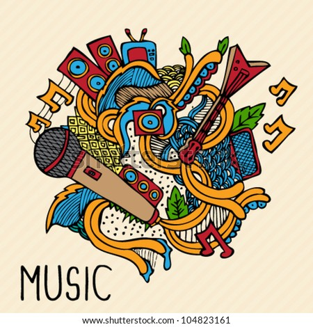 Hand Drawn Vector Music Doodle Illustration - stock vector