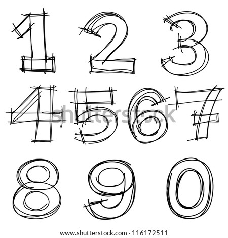 Hand drawn vector number letters. - stock vector