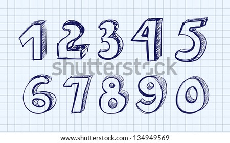 Hand drawn vector numbers - stock vector