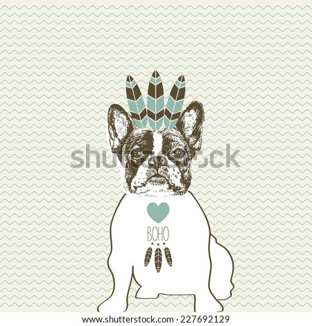 Hand drawn vector of French Bulldog in boho style indian feathers. - stock vector