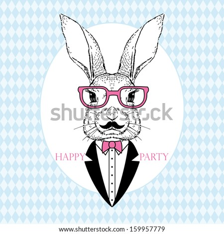Hand Drawn Vector Portrait of Bunny in Pink Glasses and Tuxedo, Party Look, Easter - stock vector
