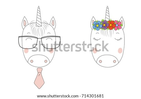 Hand Drawn Vector Portraits Of A Funny Unicorns Girl And Boy In Flower Chain Glasses