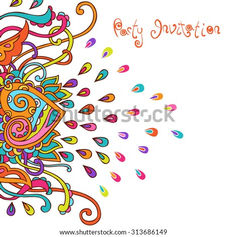 Hand drawn vector psycedelic background. Colorful doodle design for cards and invitations. Funky decorative template.