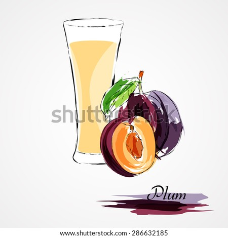 Hand drawn vector purple plum ripe fruit and juice on light background - stock vector