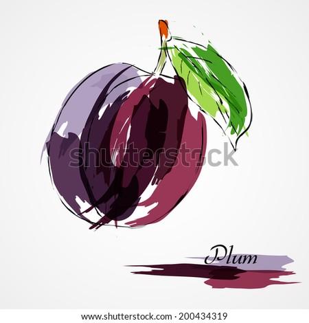 Hand drawn vector purple plum ripe fruit on light background - stock vector