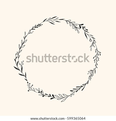 Hand Drawn Vector Round Frame Floral Wreath With Leaves Berries Branches Ink