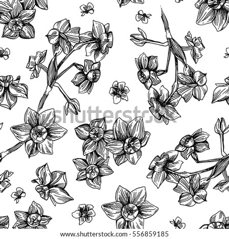 Hand drawn vector seamless pattern. Beautiful floral illustration. Drawing by hand. Boho style.