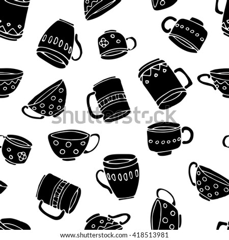 hand drawn vector seamless pattern, black mugs and cups, white background