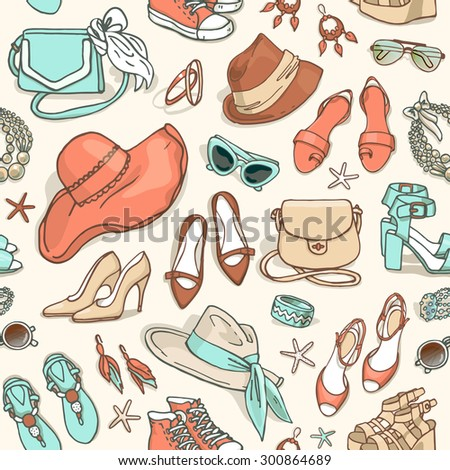 Hand drawn vector seamless pattern of shoes bags and female fashion accessories - stock vector