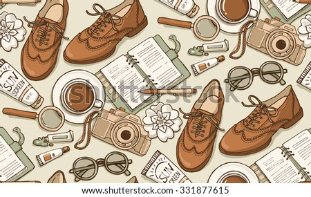 Hand drawn vector seamless pattern with shoes, notebook, cup of coffee, camera, glasses, pen, sunscreen, tubes of paint, flowers. Can use for print, web, fabric. Pastel color doodle illustration. - stock vector