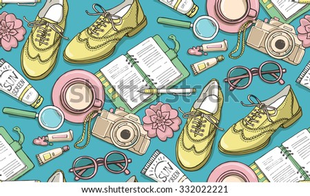 Hand drawn vector seamless pattern with shoes, notebook, cup of coffee, camera, glasses, pen, sunscreen, tubes of paint, flowers. Can use for print, web, fabric.  - stock vector