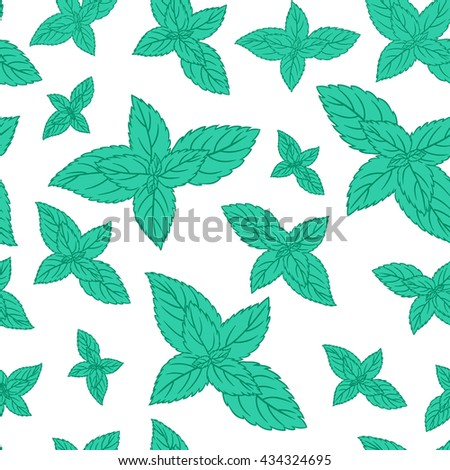 Hand drawn vector seamless patterns with mint leaves, peppermint, spicy herbs, kitchen texture, Doodle cooking ingredient for design package tea, wallpaper, cosmetics, textile, natural organic product - stock vector