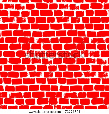 Hand drawn vector seamless with bricks in bright red. Texture for web, print, wallpaper, textile, fabric, construction company website, computer game. - stock vector