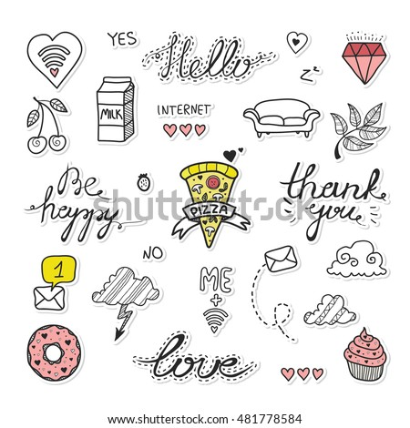 Hand drawn vector set of cartoon badges cute doodles stickers patch or fashion pin