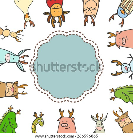 Hand drawn vector set of cute animals wearing deer horns. May be used as a greeting card, invitation, wallpaper, package, background. Elephant, bear, goose, penguin, cat, platypus, duck, flamingo. - stock vector