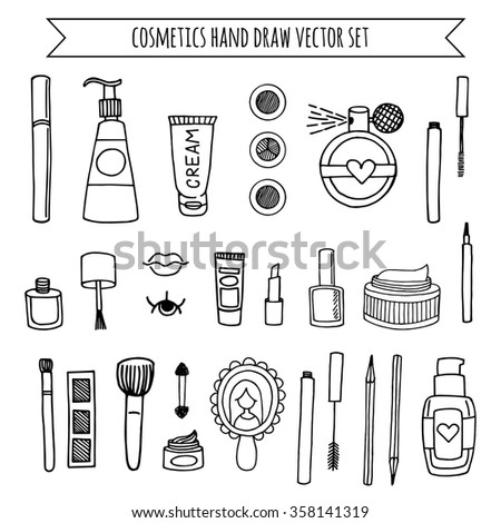 Hand drawn vector set of make up and cosmetics. background fashion