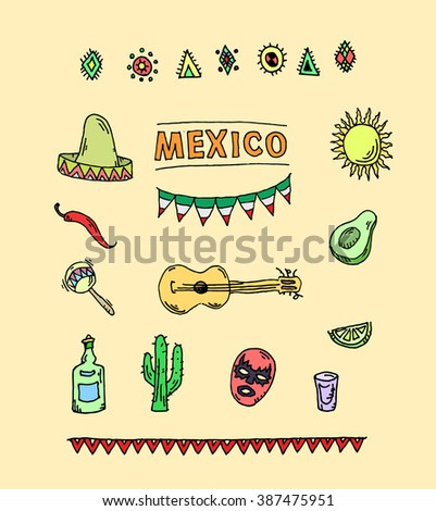 Hand drawn vector set of mexican symbols- guitar, sombrero, tequila, taco, skull, aztec mask, music instruments. Isolated national elements made in vector. - stock vector