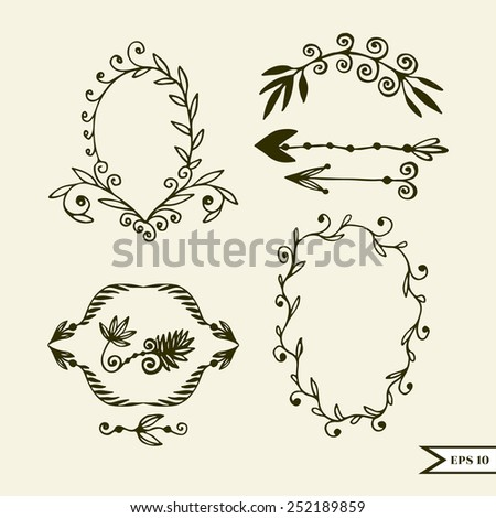 Hand drawn vector set of vintage design calligraphy elements for wedding, greeting card, poster - stock vector