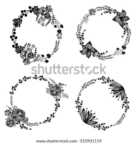 Hand-drawn vector set of vintage floral wreathes isolated on white background. Wedding, marriage, bridal, birthday, Valentine's day. - stock vector
