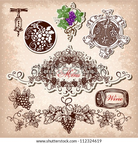 Hand drawn vector set of wine, grapes and winemaking. - stock vector