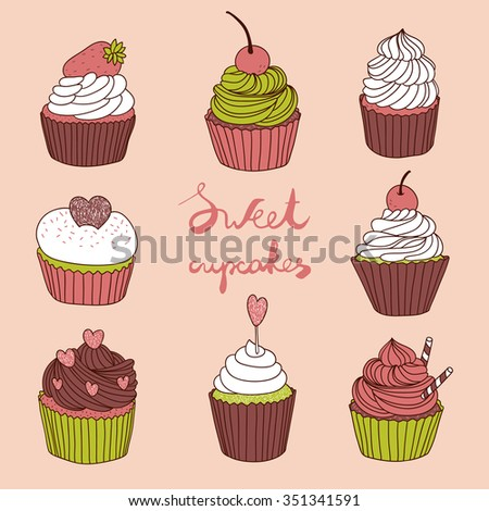 hand drawn vector set with cute cupcakes - stock vector