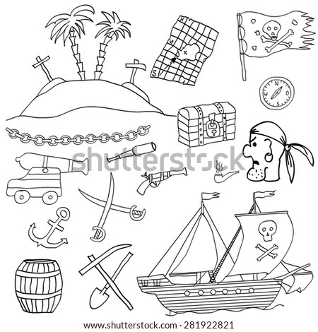 Hand drawn vector set with funny cartoon pirate elements and objects on white background - stock vector