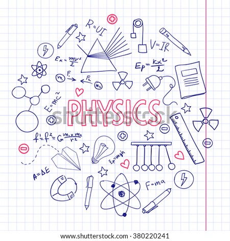 Hand drawn vector set with physics equipment. Can be used for school design. - stock vector