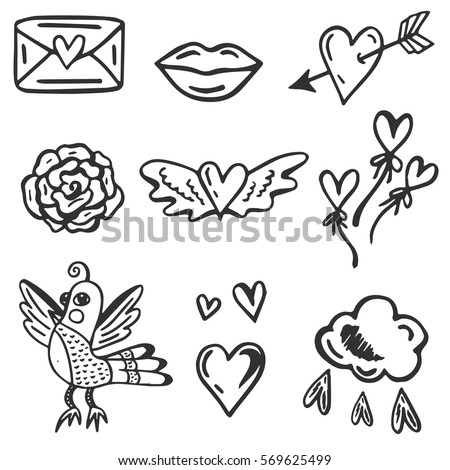 Hand Drawn Vector Set With Romantic Cute Elements Collection Of Hearts Flower Bird