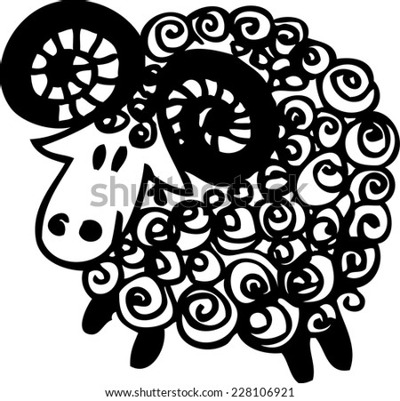 Hand drawn vector sheep. Illustration. Sign.