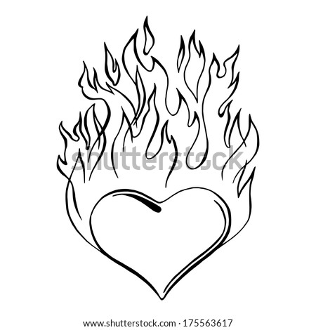 hand drawn vector sketch illustration flaming stock vector