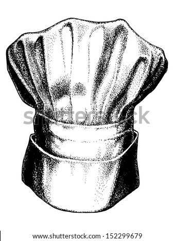 hand drawn, vector, sketch illustration of hat of chef, togue - stock vector