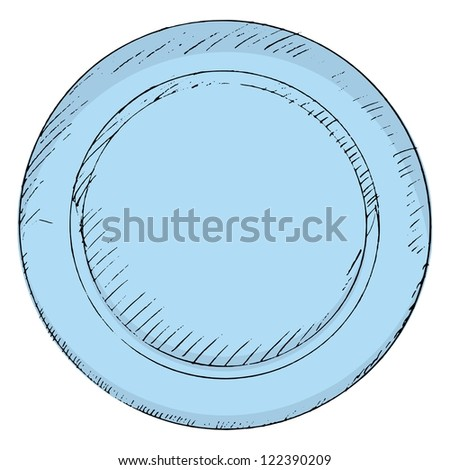hand drawn, vector, sketch illustration of plate - stock vector